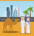 camel riders in the desert on the dubai city vector image
