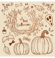Hallowen hand-drawn set Autumn template vector image