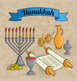 jewish holiday hanukkah greeting card traditional vector image