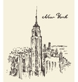 New York city architecture vintage drawn vector image