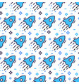 space seamless pattern with rockets and stars vector image