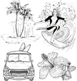 Surfing Design Sketch Set vector image