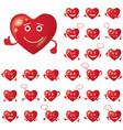 valentine hearts smileys set vector image