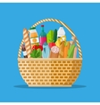wicker basket full of groceries products vector image