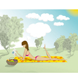 Woman in Park With Book vector image
