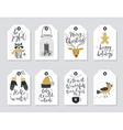 Christmas tags set hand drawn style vector image vector image