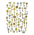 Keys collection sketch for your design vector image