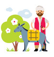 donkey drover flat style colorful cartoon vector image