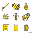 set of honey icons the line flat of bee vector image