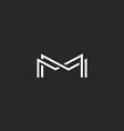 Letter M monogram logo overlapping thin line black vector image