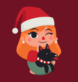 Christmas Girl Holding her Dog vector image