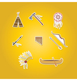 color set with american indian icons vector image