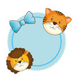 cute lion with tiger card vector image