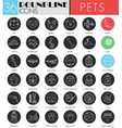 Pet friend circle white black icon set vector image