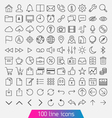 100 line icon set vector image