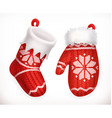 Christmas sock and winter knitted mitten 3d icon vector image