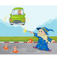 A young boy inside his green car and a wizard vector image vector image