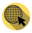 earth globe with cursor flat black icon vector image vector image