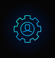 man in cog blue icon vector image