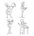 Lineart male and female chief cook waiter garcon vector image