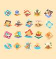 summer vacation icon set seaside holiday vector image