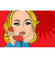 pop art retro woman in comics style talking on the vector image
