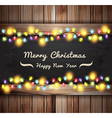 Christmas lights on wooden boards and chalkboard vector image vector image