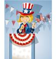 Cute blond girl in a suit of uncle sam stands on vector