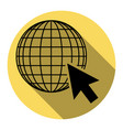 earth globe with cursor flat black icon vector image