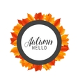 Hello Autumn round frame with hand drawn orange vector image