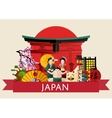 Japan travel concept with famous attractions vector image