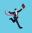 running businessman isolated on blue background vector image