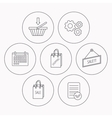 Shopping cart sale bag icons vector image