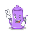 two finger purple teapot character cartoon vector image