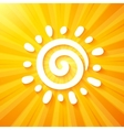 White cut out paper sun on yellow background vector image