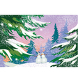 Christmas card snowmen forest vector image vector image