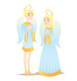 angelic couple cute young boy and girl in style vector image
