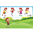 Girl playing golf and other sports vector image