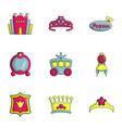 princess things icons set flat style vector image
