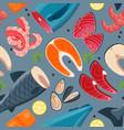 sea food seamless pattern vector image