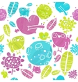 Watercolor Pattern with Birds Hearts and vector image