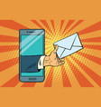 you email or a message in smartphone vector image