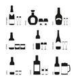 Alcohol drinks glasses and bottles icons vector image