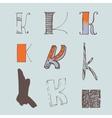 set of colorful alphabet letters K vector image