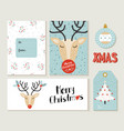 merry christmas deer greeting card and label set vector image