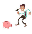 man with a piggy bank vector image