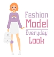 Beautiful cartoon fashion girl model vector image