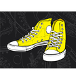 yellow sneakers vector image vector image