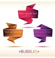 Abstract origami speech bubble backgrounds set vector image