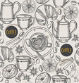 Coffee seamless pattern background vector image